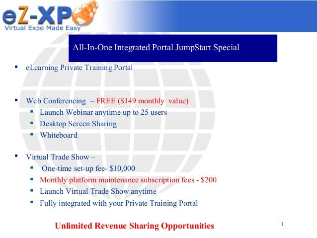 All-In-One Integrated Portal JumpStart Special   eLearning Private Training Portal    Web Conferencing – FREE ($149 mont...