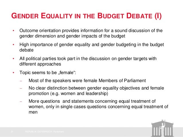 a discussion on the issue of gender equality Gender indicators: what, why and how 1  or in attitude changes about gender equality  awareness of particular issues they can stimulate discussion and .