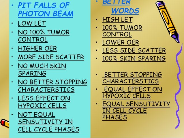 • PIT FALLS OF PHOTON BEAM • LOW LET • NO 100% TUMOR CONTROL • HIGHER OER • MORE SIDE SCATTER • NO MUCH SKIN SPARING • NO ...