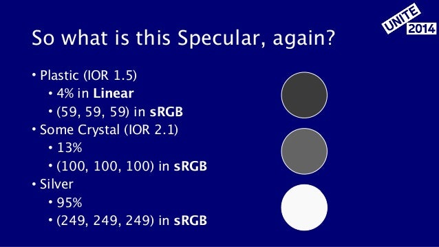 So what is this Specular, again? • Plastic (IOR 1.5) • 4% in Linear • (59, 59, 59) in sRGB • Some Crystal (IOR 2.1) • 13% ...