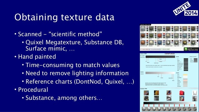 """Obtaining texture data • Scanned - """"scientific method"""" • Quixel Megatexture, Substance DB, Surface mimic, … • Hand painted..."""
