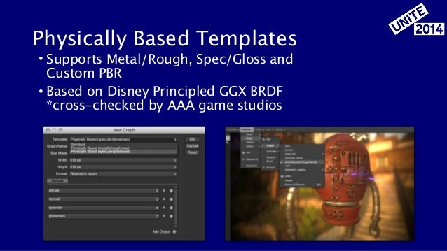 Physically Based Templates • Supports Metal/Rough, Spec/Gloss and Custom PBR • Based on Disney Principled GGX BRDF  *cros...
