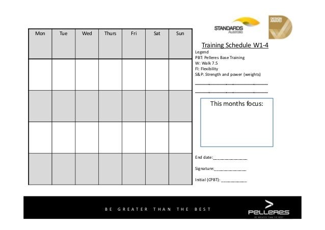 Pelleres Base Training 4 week training template