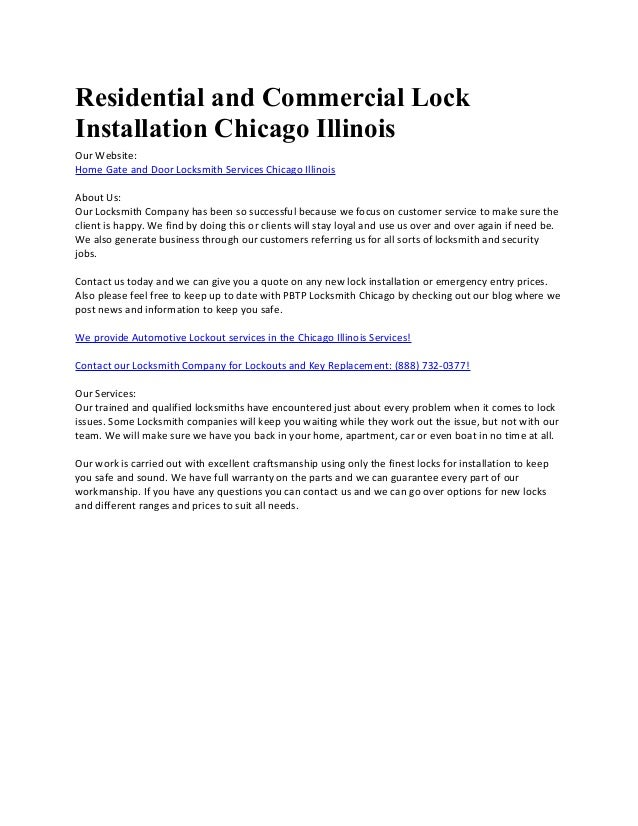 580bb21a3f Residential and Commercial Lock Installation Chicago Illinois Our Website   Home Gate and Door Locksmith Services