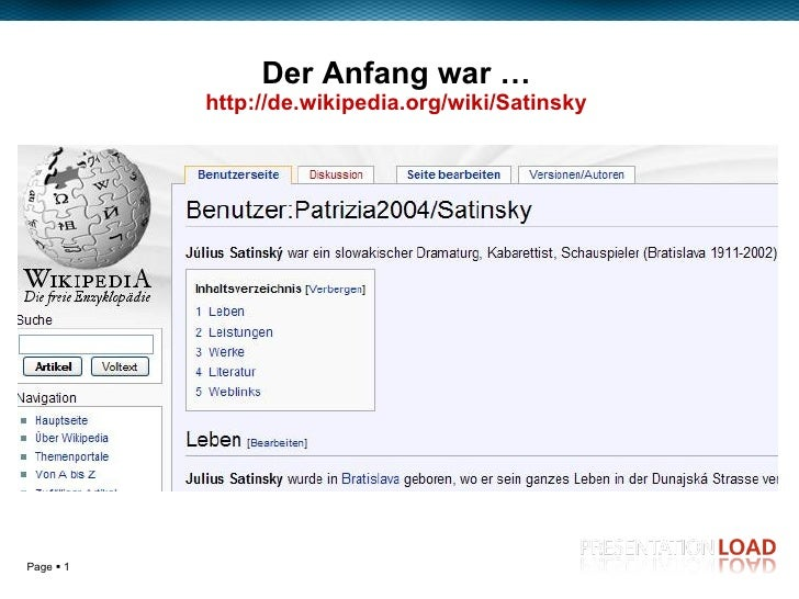 Der Anfang war … http:// de.wikipedia.org / wiki / Satinsky Enter your subtitle or main author's name here