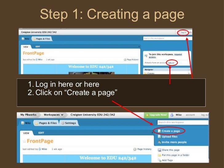 "Step 1: Creating a page <ul><ul><li>Log in here or here </li></ul></ul><ul><ul><li>Click on ""Create a page"" </li></ul></ul>"