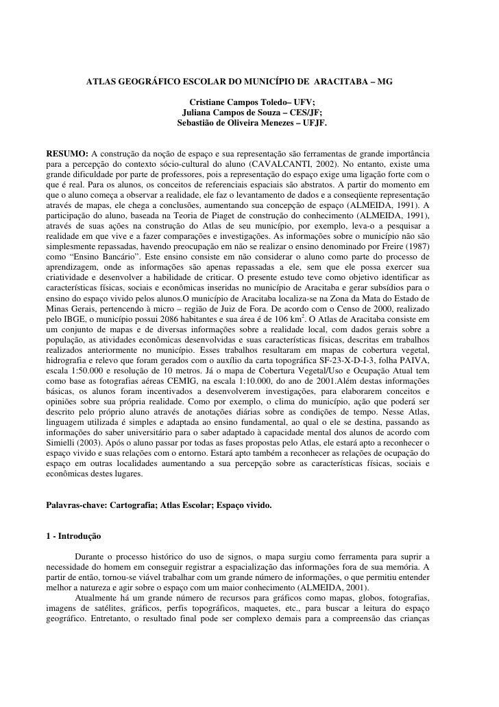 ATLAS GEOGRÁFICO ESCOLAR DO MUNICÍPIO DE ARACITABA – MG                                         Cristiane Campos Toledo– U...