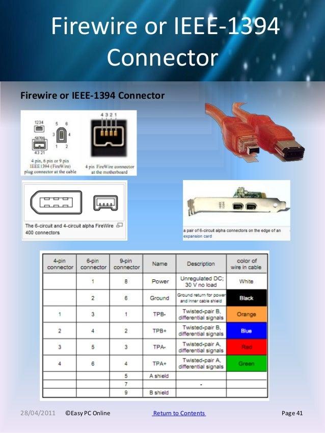 pc pinouts easypconline ieee 1394 to usb firewire or ieee 1394