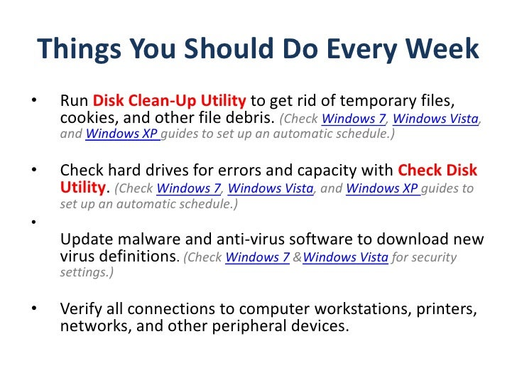 pc preventative maintenance checklist rh slideshare net pc maintenance guide pdf pc software maintenance guide