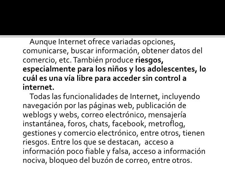 riesgos en el mal uso de internet Slide 2