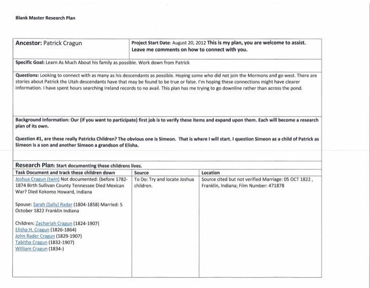 Blank Master Research PlanAncestor: Patrick Cragun                                Project Start Date: August 20, 2012 This...