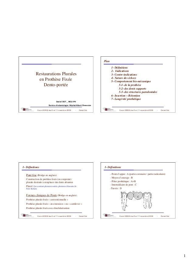 1 Cours DCEO2 des 5 et 11 novembre 2008 - Daniel Dot Restaurations Plurales en Prothèse Fixée Dento-portée Daniel DOT _ MC...