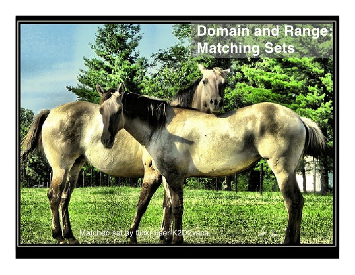 Domain and Range:                               Matching Sets     Matched set by flickr user K2D2vaca