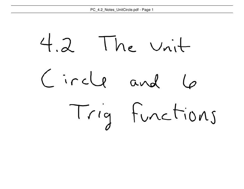 Pc 4.2 Notes Unit Circle