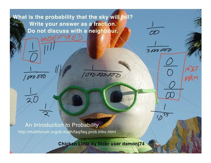 What is the probability that the sky will fall?      Write your answer as a fraction.     Do not discuss with a neighbour....