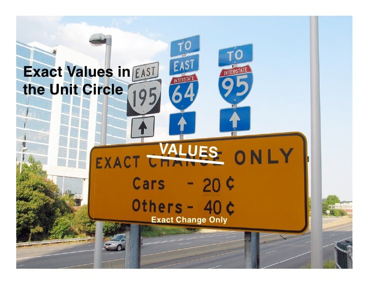 Exact Values in the Unit Circle                      VALUES                      Exact Change Only
