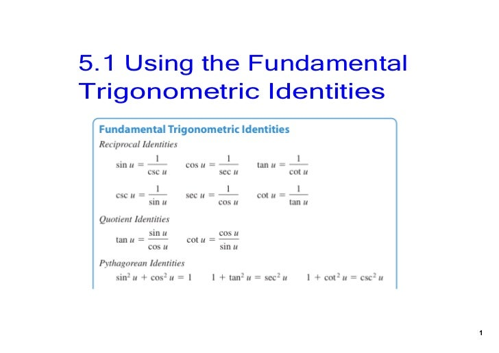 5.1 Using the Fundamental Trigonometric Identities                             1