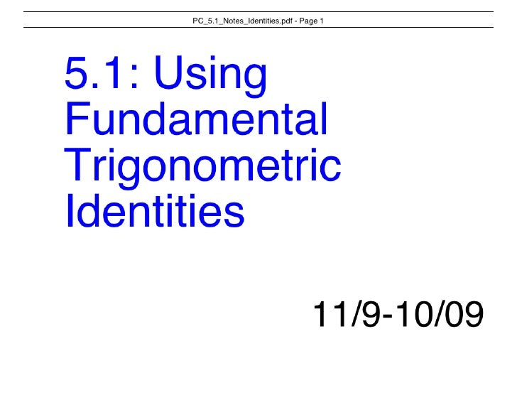 Pc 5 1 Notes Trig Identities