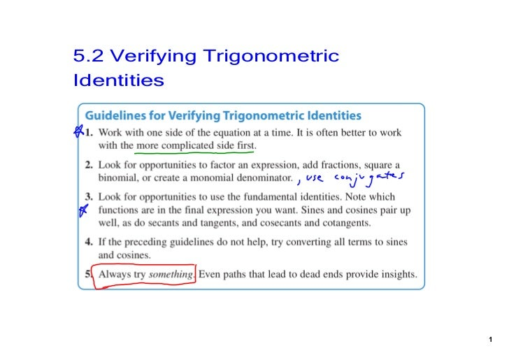 5.2 Verifying Trigonometric Identities                               1