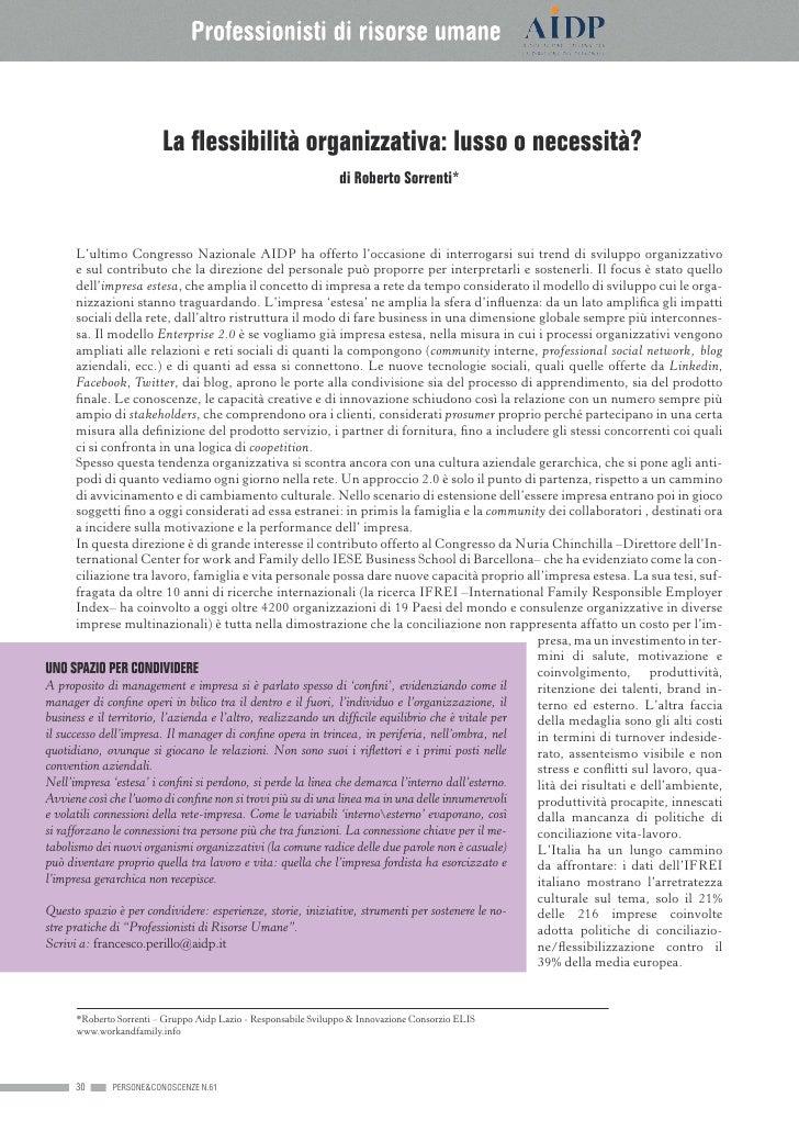 La flessibilità organizzativa: lusso o necessità?                                                                  di Robe...
