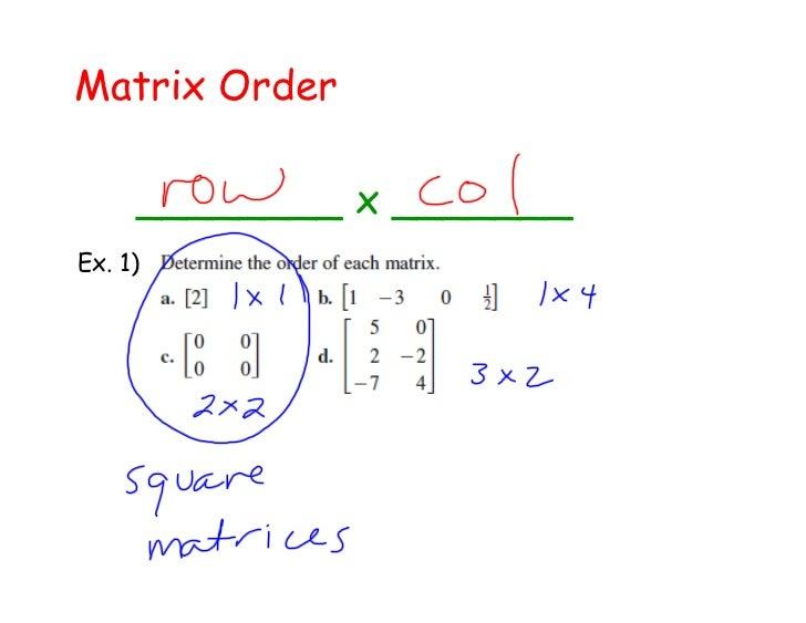 Matrix Order     ________ x _______Ex. 1)