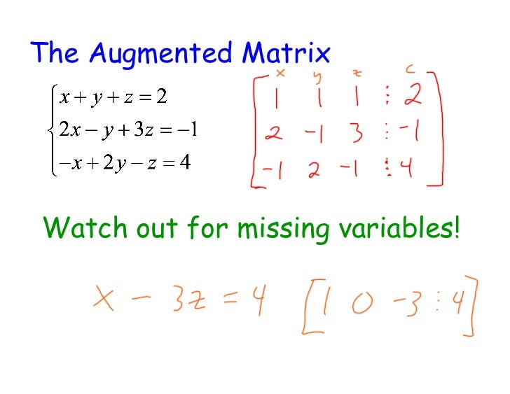 The Augmented MatrixWatch out for missing variables!