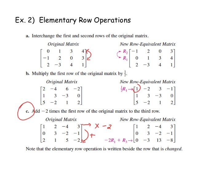 Ex. 2) Elementary Row Operations