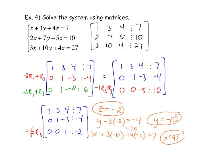 Ex. 4) Solve the system using matrices.