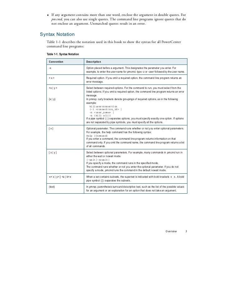 Informatica Command Line Statements