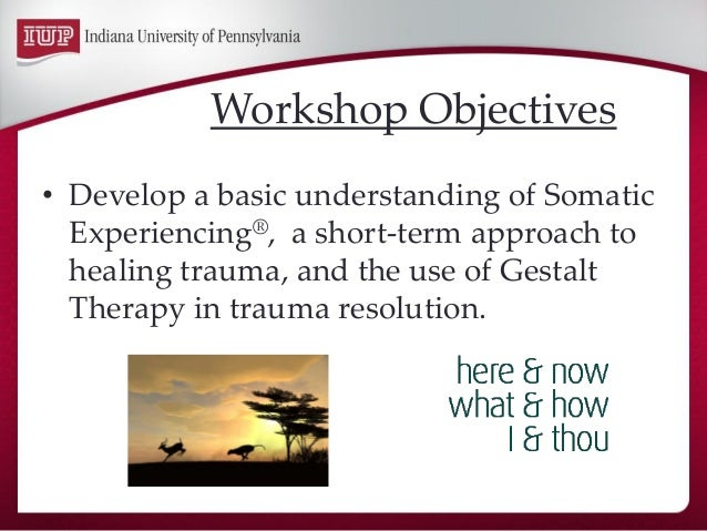 •Develop a basic understanding of Somatic Experiencing®, a short-term approach to healing trauma, and the use of Gestalt T...