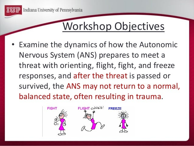 •Examine the dynamics of how the Autonomic Nervous System (ANS) prepares to meet a threat with orienting, flight, fight, a...
