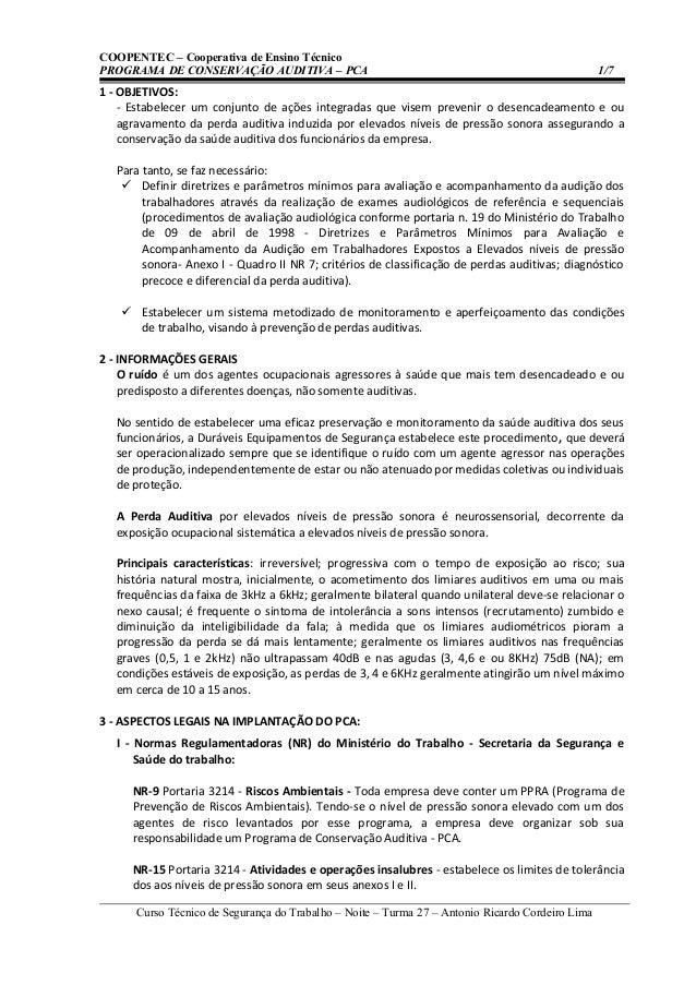 COOPENTEC – Cooperativa de Ensino TécnicoPROGRAMA DE CONSERVAÇÃO AUDITIVA – PCA                                           ...