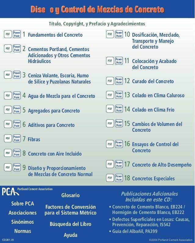 Dise–o y Control de Mezclas de Concreto  Título, Copyright, y Prefacio y Agradecimientos  1Fundamentos del Concreto  2Ce...