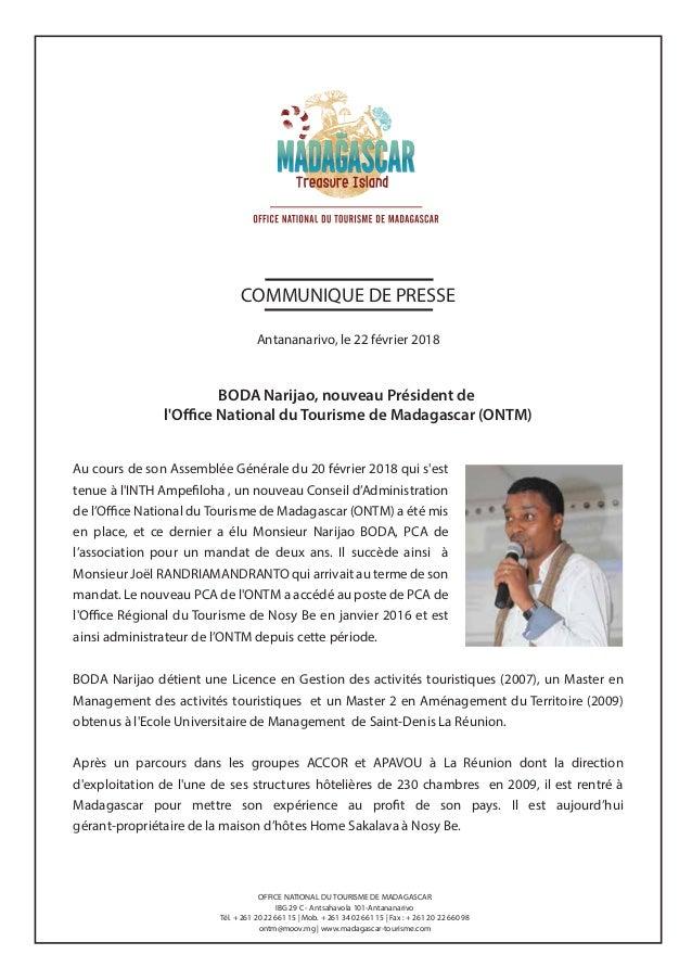 Boda narijao nouveau pr sident de l 39 office national du - Office national du tourisme ...