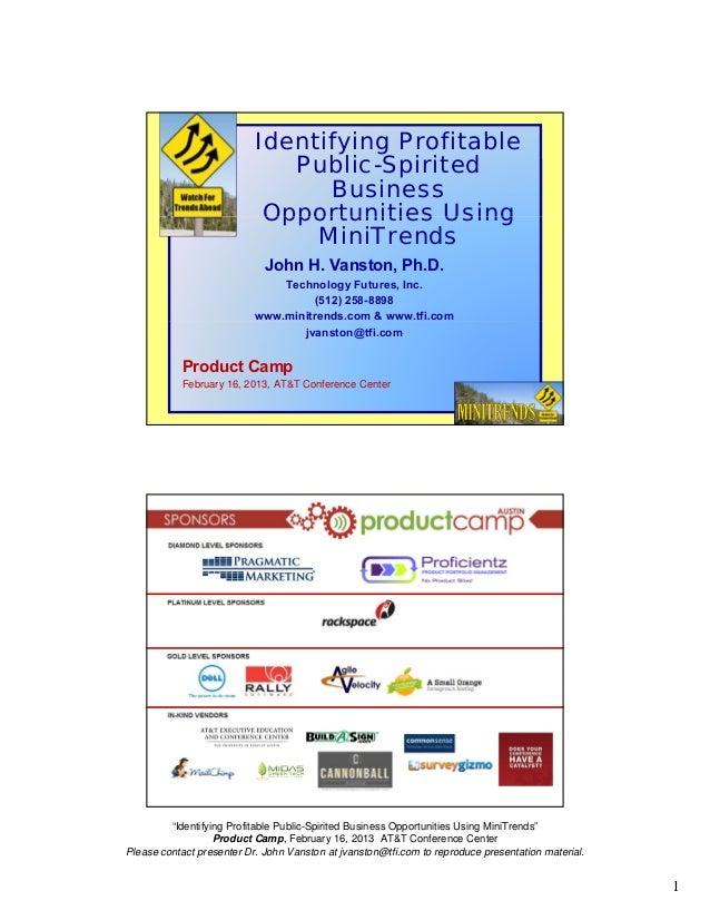 Identifying Profitable                              Public-Spirited                                 Business              ...