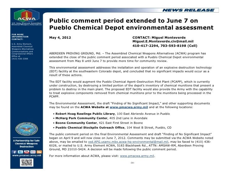 Public comment period extended to June 7 on                        Pueblo Chemical Depot environmental assessmentFOR MOREI...