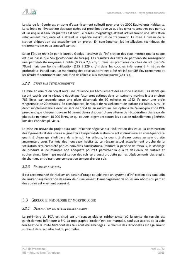 Architectes, Urbanistes, Paysagistes associés  PCA de Waremme Page 10/22  RIE – Résumé Non Technique 2013  Le site de la r...