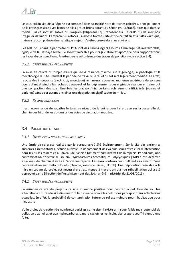 Architectes, Urbanistes, Paysagistes associés  PCA de Waremme Page 11/22  RIE – Résumé Non Technique 2013  Le sous-sol du ...
