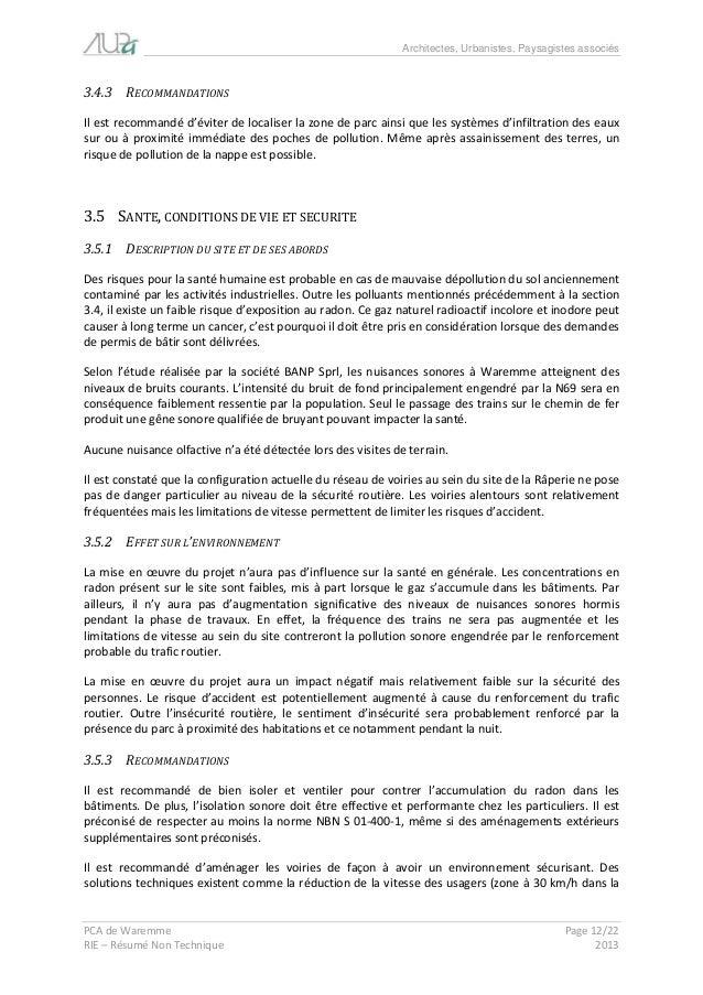 Architectes, Urbanistes, Paysagistes associés  PCA de Waremme Page 12/22  RIE – Résumé Non Technique 2013  3.4.3 RECOMMAND...