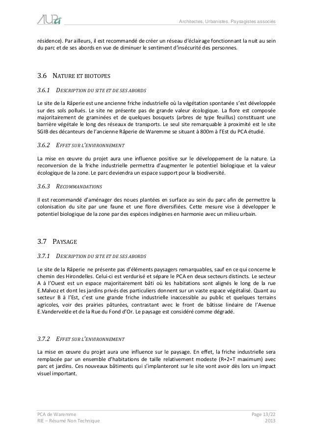 Architectes, Urbanistes, Paysagistes associés  PCA de Waremme Page 13/22  RIE – Résumé Non Technique 2013  résidence). Par...