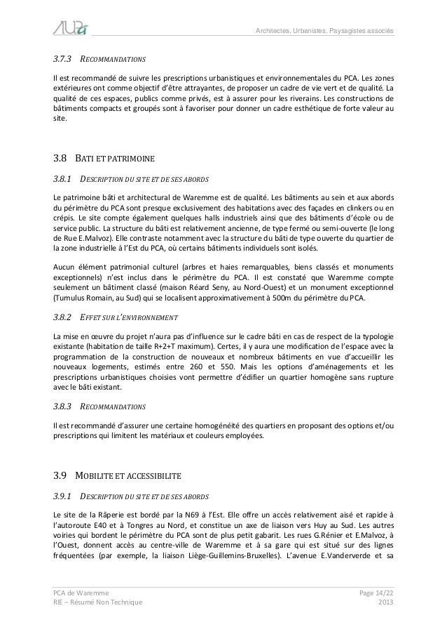 Architectes, Urbanistes, Paysagistes associés  PCA de Waremme Page 14/22  RIE – Résumé Non Technique 2013  3.7.3 RECOMMAND...