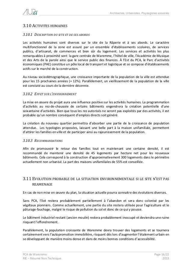 Architectes, Urbanistes, Paysagistes associés  PCA de Waremme Page 16/22  RIE – Résumé Non Technique 2013  3.10 ACTIVITES ...