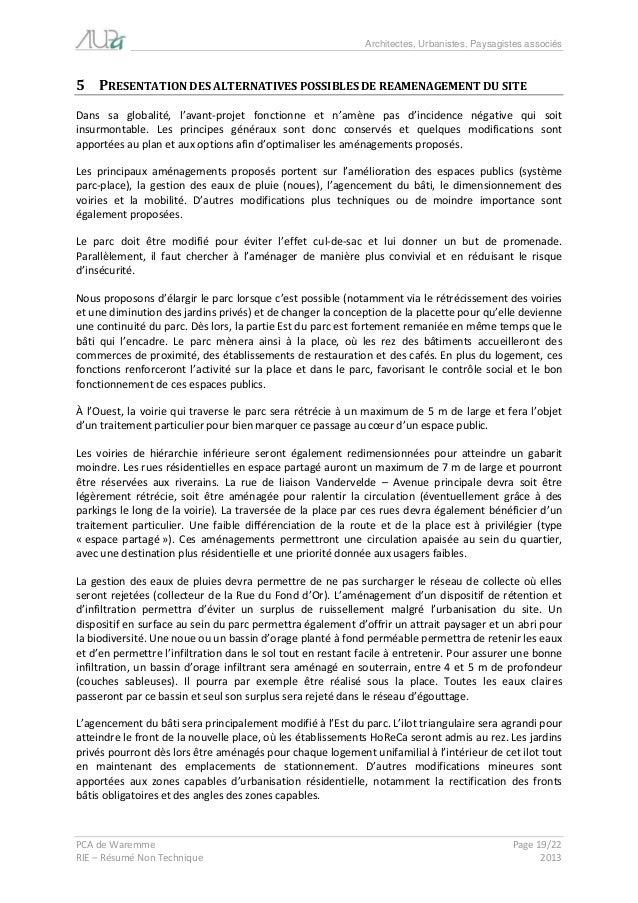 Architectes, Urbanistes, Paysagistes associés  PCA de Waremme Page 19/22  RIE – Résumé Non Technique 2013  5 PRESENTATION ...