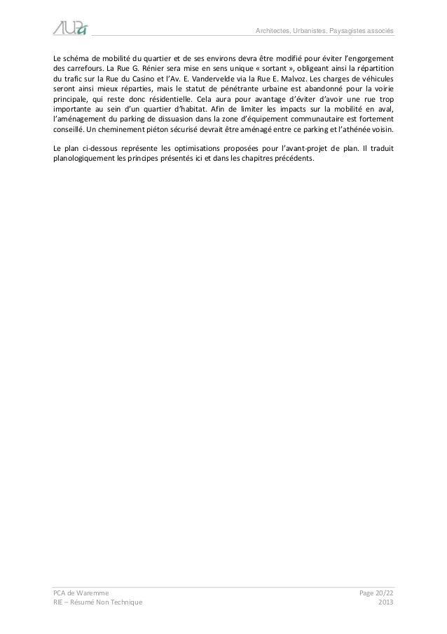 Architectes, Urbanistes, Paysagistes associés  PCA de Waremme Page 20/22  RIE – Résumé Non Technique 2013  Le schéma de mo...