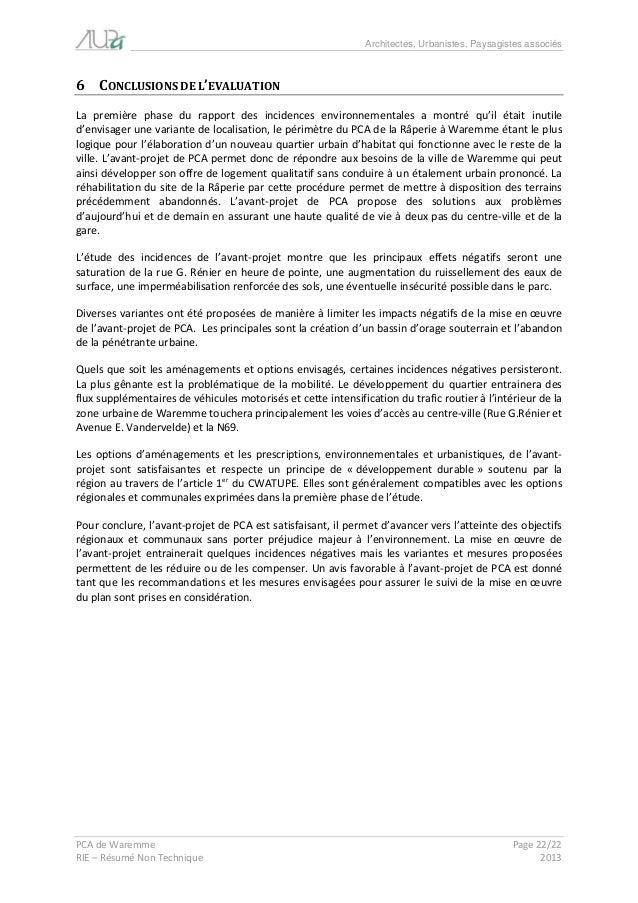Architectes, Urbanistes, Paysagistes associés  PCA de Waremme Page 22/22  RIE – Résumé Non Technique 2013  6 CONCLUSIONS D...