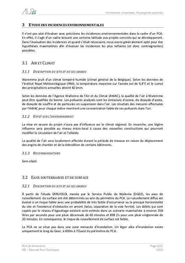 Architectes, Urbanistes, Paysagistes associés  PCA de Waremme Page 9/22  RIE – Résumé Non Technique 2013  3 ETUDE DES INCI...