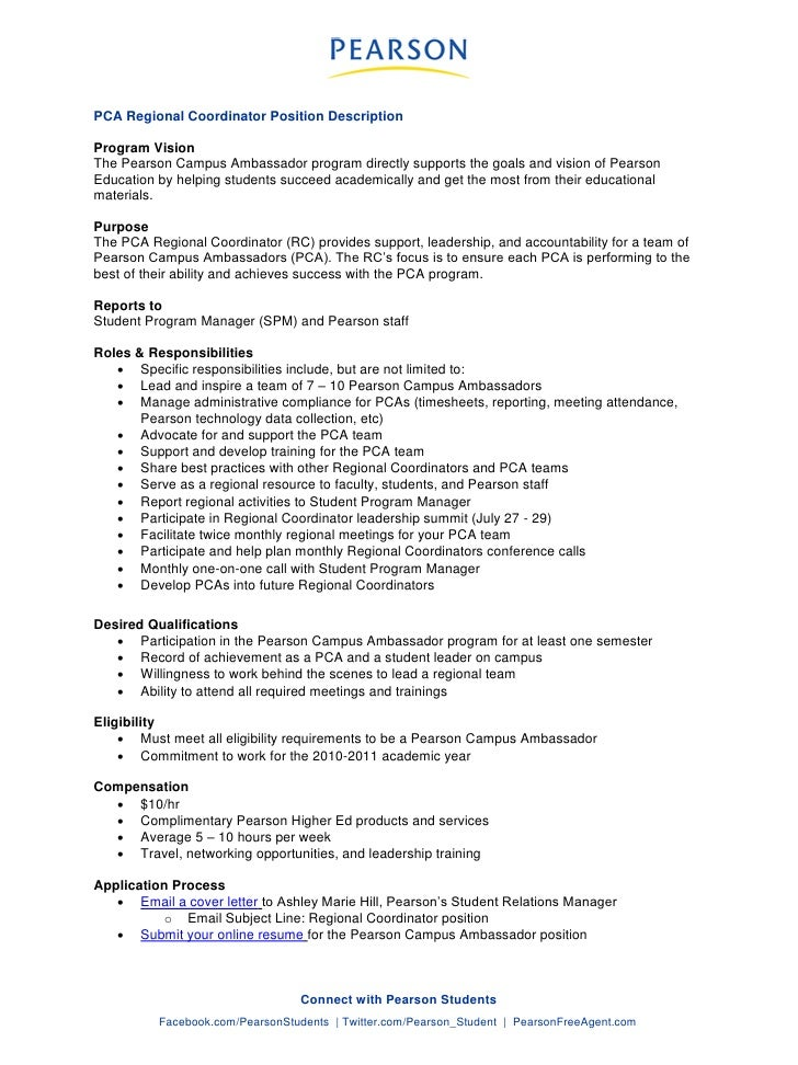 PCA Regional Coordinator Position Description Program Vision The Pearson  Campus Ambassador Program Directly Supports The .