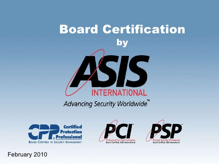 ASIS Board Certification