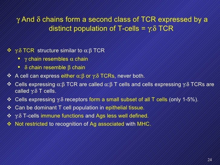    And    chains form a second class of TCR expressed by a distinct population of T-cells =   :   TCR  <ul><li> :   ...