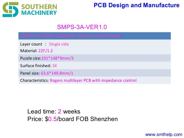 www.smthelp.com PCB Design and Manufacture SMPS-3A-VER1.0(Satellite receiver circuit board ) Layer count : Single side Mat...